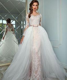 2017 Wedding Dress Appliques Half Sleeve Lace Up back Wedding Dresses