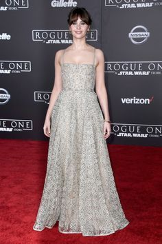 Actress Felicity Jones attends the premiere of Walt Disney Pictures and Lucasfilm's 'Rogue One: A Star Wars Story.'