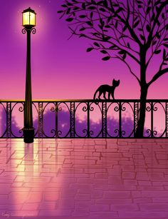 Purple Lamp post by Bindi Illustrations, Illustration Art, Purple Lamp, Black Cat Art, Black Cats, Little Paris, Gatos Cats, All About Cats, All Things Purple