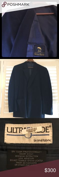 Neiman Marcus Navy Blue Ultra Suede Blazer Neiman Marcus Navy Blue Ultra Suede Dress Coat that is a unique and very stylish jacket to sport to any event. You can dress it up or use it as everyday wear. I've dry cleaned it and taken care of it so it's used but in great condition. One of my favorites. It was Tailored and the measurements aren't there but I believe it's a 44R. Thanks. Neiman Marcus Suits & Blazers Sport Coats & Blazers