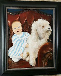 Kind en hond op stoel