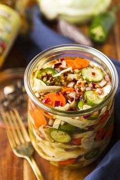 Sweet & Spicy Quick Pickled Veggies -- A simple mixture of your favorite veggies submerged in a quick pickle brine with a bit of spice makes for a super easy, healthy, and flavorful side or condiment... Five minutes to prep and ready to eat in an hour! | quick pickled veggies jars | quick pickled veggies recipes | easy pickled veggies | how to make pickled veggies | find the recipe on unsophisticook.com #healthy #pickled #veggies