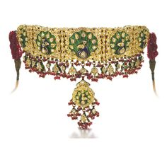 Ruby, enamel and diamond bazuband with peacock motif that can be work as a choker