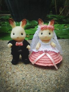 Sylvanian Families Wedding Set Crochet Clothes by AmigurumiByMe# Calico Critters