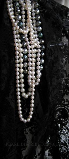 CUSTOM MADE black lace and #pearls