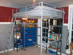 yes, you still need room for Lego. Perhaps with stairs for him instead of a ladder Storage Solutions, Storage Ideas, My New Room, Boy Room, Ikea Loft, How To Plan, Ladder, Kid Stuff, Bedroom Ideas