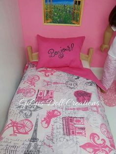 Bonjour Paris Themed bedding fits  American by GiGisDollCreations