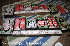 """2x4 Jingle all the way. 2x2= 2- 6"""" ,2-5"""", 1-4.5"""", 1-4"""", 2x2=1-14"""" piece. Apply stain to wood, then modge podge scrapbook paper. Paint or use vinyl letters. Can be reversible with GIVING on the reverse side and THANKS on the small piece"""