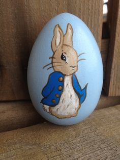 Peter Rabbit Wooden Easter Egg handpainted and by WendyPlank