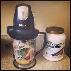 """Another great protein recipe from Laurie who is a """"yogiforlife"""" - using her Ninja blender she made her True Athlete shake here with bluberries, banana, strawberries, orange juice, spinach, lemon juice and our natural whey protein from the Vitamin Shoppe."""