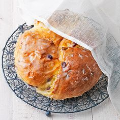 Osterbrot -- Easter bread with cranberries, almonds and orange flavoring