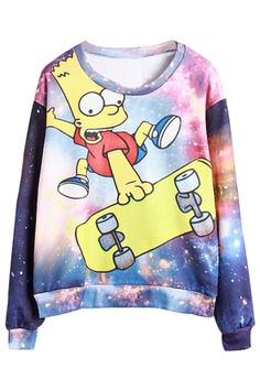 Gorgeous Galaxy Cartoon Print Sweatshirt - OASAP.com