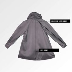 1178c32fc70b0 Back view of mini Mycra Pac Raincoat in the color nickel showing how to  measure sleeve