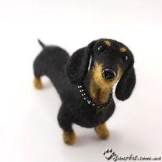 Custom Realistic Needle Felted Dog / Pet Portrait Sculpture - OOAK - Breed Dachshund by YanArt Needle Felted Animals, Felt Animals, Needle Felting, Cute Animals, Felt Dogs, Dachshund Love, Daschund, Felt Art, Pet Portraits