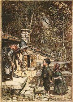 Arthur Rackham Illustrations for Grimm Fairy Tales-Hansel and Gretel