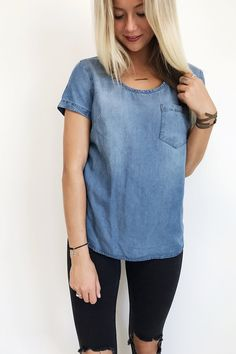 Medium Wash Denim Tee | ROOLEE