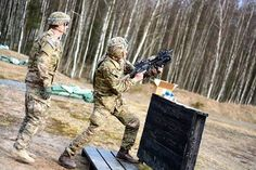 #USArmy Paratroopers, assigned to 503rd Infantry Regiment, 173rd Airborne Brigade, conduct partnered training with British Cadets from the Royal Military Academy Sandhurst at Grafenwoehr Training Area, Germany, Mar. 10, 2015. U.S. Army photo by Spc. Brett Hurd