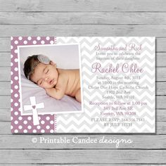 Purple Chevron Baptism or Christening by printablecandee on Etsy, $10.00