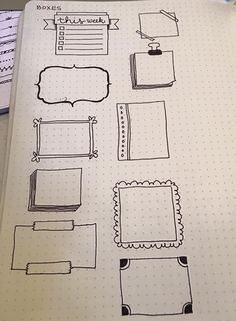 Frames For Accessorizing Bullet Journal Planner Pages Bullet Journal Boxes, My Journal, Bullet Journal Inspiration, Journal Pages, Journal Ideas, Banners, Doodles, Sketch Notes, Smash Book