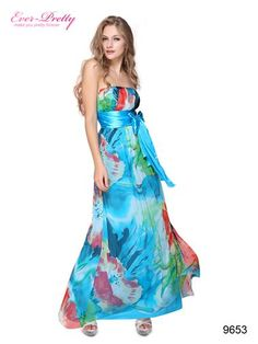Strapless Floral Printed Ruffles Ribbon Long Evening Dress