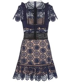 Self-Portrait - Louisa Guipure lace dress - Self-Portrait has made a name for themselves with iconic lace dresses, and the Louisa dress will have loyal followers excited. Cleverly placed partial lining creates the illusion of dainty lace simply sitting atop skin, while a navy blue and black trim helps give this piece structure and shape. A feminine, fitted silhouette illustrates just how versatile lace can be. seen @ www.mytheresa.com