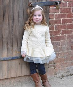 Look at this Sweet Charlotte Ivory Peplum Sweater - Toddler