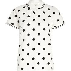 River Island White polka dot print polo shirt (€12) ❤ liked on Polyvore featuring tops, shirts, sale, white shirts, short sleeve shirts, polka dot polo shirt, white tops and white short sleeve shirt