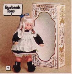 Victoria Rose Doll made by Burbank  With a soft body, sleeping eyes and rooted hair. Dressed quite beautifully in a pretty Victorian outfit. #70s dolls