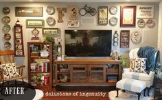 """A homeowner wanted to fill the """"endless space"""" around her tv. How she does it? Gorgeous!"""