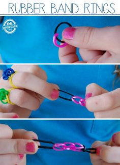 Make rubber band rings without a loom! This simple loom bracelet idea doesn't require a loom and is easy enough for younger kids to make. Kids Crafts, Fun Projects For Kids, Easy Arts And Crafts, Fun Activities For Kids, Craft Activities, Rainbow Loom Patterns, Rainbow Loom Bands, Rainbow Loom Bracelets, Loom Band Bracelets