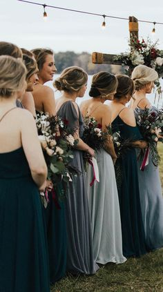 Babes in blue! Jenny Yoo Collection 2018 Bridesmaids, featuring romantic long luxe chiffon mismatched styles with flutter sleeves… Fall Wedding Colors, Blue Wedding, Dream Wedding, Wedding Summer, Summer Weddings, Party Wedding, Bridal Party Color Schemes, Camp Wedding, Wedding Vintage