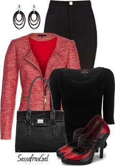 """Red Tweed Jacket"" by sassafrasgal on Polyvore"