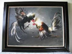 VINTAGE RICK GONZALEZ FILIPINO ARTIST COCK ROOSTER FIGHT FIGHTING OIL PAINTING  #Realism
