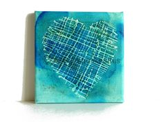 Mixed media abstract turquoise heart an original painting