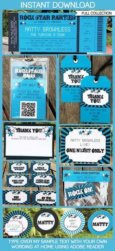 Rockstar Birthday Party Printables, Invitations & Decorations | Editable Theme Templates | INSTANT DOWNLOAD $12.50 via SIMONEmadeit.com