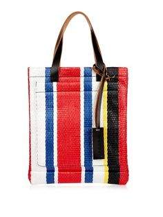 £408.00 Marni puts its inimitable spin on the classic tote with this multi-striped straw raffia. It has two black leather handles a matching designer debossed tag a handy front slip pocket and a luxurious suede lining. Carry it to accent minimalist contemporary outfits.