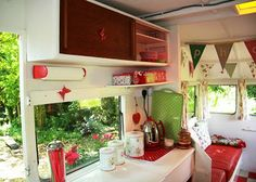 Inside the green retro trailer. From My Cool Caravan book.