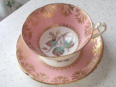 vintage pink tea cup and saucer set, Royal Grafton English bone china, antique 1950s, gold, leaves