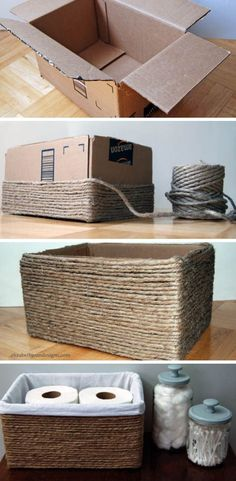 DIY: Recycled Organizer Box - Step by Step - Step by Step . DIY: Recycled Organizer Box - Step by Step - Step by Step , DIY: Caixa organizadora reciclada - Passo a Passo - Passo a Passo Diy Para A Casa, Diy Casa, Recycler Diy, Organizer Box, Creation Deco, Ideias Diy, Diy Home Crafts, Wood Crafts, Diy Home Décor