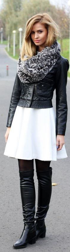 Gotta get full use of my black boots this winter! substitute white jeans for skirt