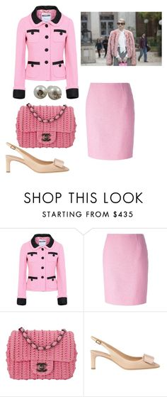"""""""Oh my god, why are you so depressed? My husband was shot in Dallas, idiot!"""" by november17 ❤ liked on Polyvore featuring Moschino, Chanel and Salvatore Ferragamo"""