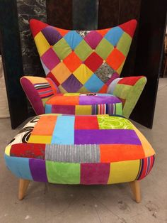 Unusual CONRAN Egg Chair and foot stool in Patchwork new upholstery in Home, Furniture & DIY, Furniture, Sofas, Armchairs & Suites   eBay