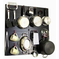 Wall Control Kitchen Pegboard 32 in. x 32 in. Metal Peg Board Pantry Organizer Kitchen Pot Rack Black Pegboard and White Peg Hooks BW - The Home Depot Black Pegboard, Metal Pegboard, Pan Storage, Pegboard Organization, Kitchen Organization, Kitchen Storage, Storage Systems, Storage Ideas, Kitchen Shelves