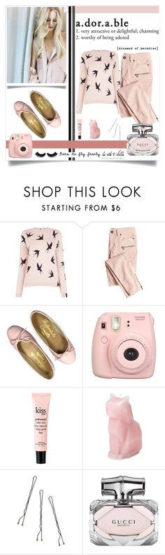 """""""Yours Adorably"""" by alongcametwiggy ❤ liked on Polyvore featuring Oasis, Victoria's Secret, Fujifilm, philosophy, Conair and Gucci"""