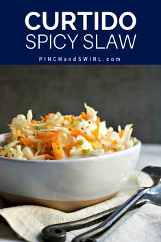 Curtido is a spicy slaw originating in El Salvador - with this recipe it's easy to make and perfect for piling on pupusas! Curtido is a spicy slaw originating in El Salvador - with this recipe it's easy to make and perfect for piling on pupusas! Easy Salads, Healthy Salad Recipes, Spicy Recipes, Mexican Food Recipes, Easy Meals, Cooking Recipes, Spanish Recipes, Easy Recipes, Vegan Recipes