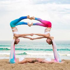 Call your crew and get on this acro fun like badasses! Poses Gimnásticas, Group Yoga Poses, Acro Yoga Poses, Partner Yoga Poses, Acro Dance, Pole Dance, Gymnastics Poses, Gymnastics Workout, Yoga Pictures