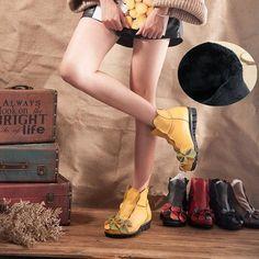 Flower Soft Leather Ankle Vintage Slip On Flat Boots