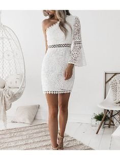 The white lace oblique shoulder sexy hollow bodycon mini dress with one see-through lace sleeve is so sexy and it is a good choice of fashion in summer. White Lace Bodycon Dress, Polka Dot Bodycon Dresses, Bodycon Dress With Sleeves, Bodycon Dress Parties, Lace Dress, Party Dress, White Dress, Lace Bag, Sheath Dress