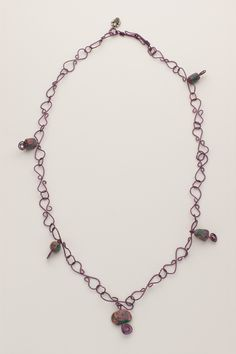Spring Garden Purple hand turned wire necklace with hand made closure.