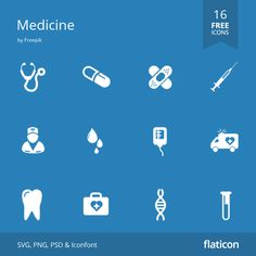 Medicine free icons in vector format for both personal  commercial use. (License: CC BY 3.0)